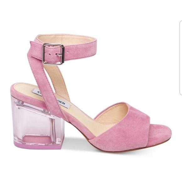 fe1bf7cb5508 Pink Suede lucite block heels Sz 8.5🎉🌸